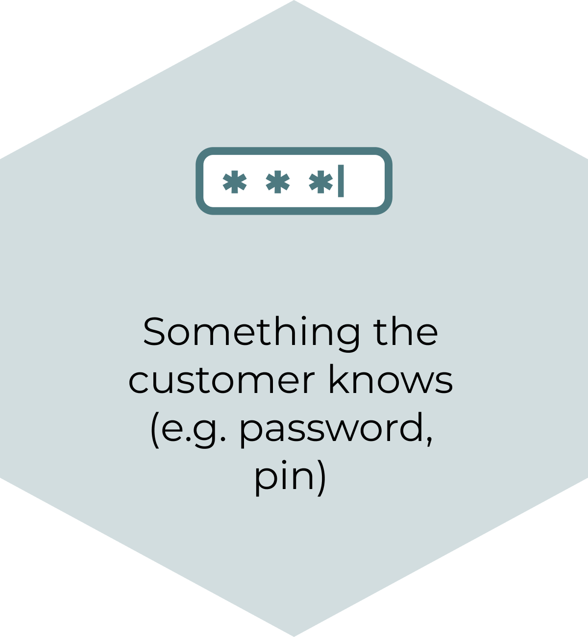 Something the customer knows (e.g. password, pin)
